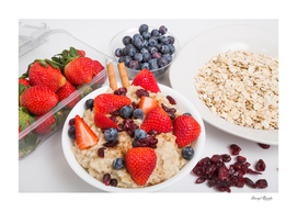 Oatmeal with Blueberries Strawberries Cranberries and