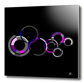 GREY AND PURPLE CIRCLES-BLACK BG