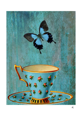 Rosebud Teacup and Blue Butterfly
