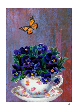 Purple Flowers, Tea Cup and a Yellow Butterfly