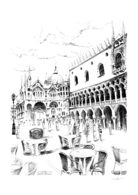 Sketch of San Marco Square in Venice