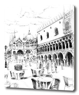 Sketch of San Marco Square in Venice