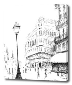 Sketch of a Street in Paris