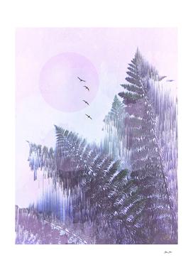 Frozen Fern by the Moon - Glitch Art