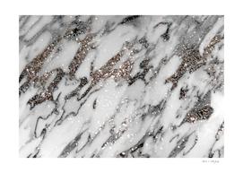 Classic White Marble Silver Glitter Glam #1 (Faux Glitter)