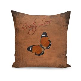 Rusty Love, Orange Butterfly, Faux Rusty Metal