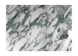 Classic White Marble Light Blue Glitter Glam #1