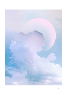Dreamy Pastel Blue Sky with Moon