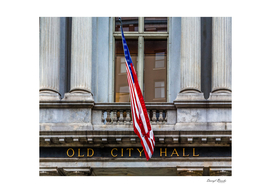 Old City Hall Sign with Flag