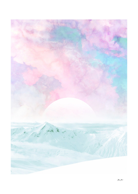 Winter Landscape on Candy Marble Sky