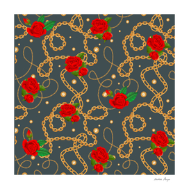 golden chain red rose pattern