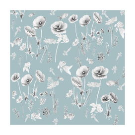 Fishes & Garden-Powder Blue