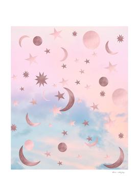 Pastel Starry Sky Moon Dream #2 #decor #art
