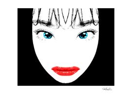 Cartoon Style Asian Woman Close Up Portrait Illustrat
