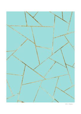 Soft Turquoise Gold Geometric Glam #1 #geo #decor #art