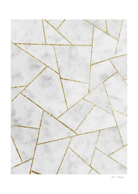 White Marble Gold Geometric Glam #1 #geo #decor #art