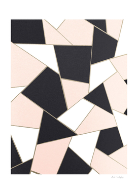 Charcoal Blush White Gold Geometric Glam #1 #geo #decor #art