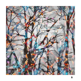 Forest abstract artwork colorful