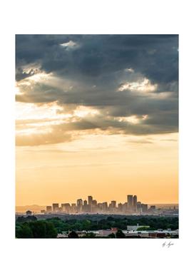 Colorado Sunset Skyline Downtown Denver