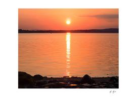 Orange Yellow Sky Sunset on the Lakes Waters