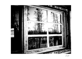 Black and White Grainy Log Cabin Window Reflection