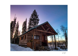 Gritty Cabin Colorful Blue Pink Purple Sunset