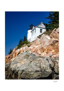 Seashore Rock Lighthouse Reddish Brown Tones