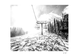 Black and White Ski Lift Photo Going to the Top