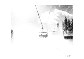 Ski lift in Blizzard Winds Black and White Whiteout