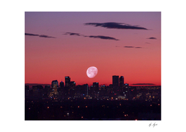 Downtown Denver Colorado Super Moon Red Sky