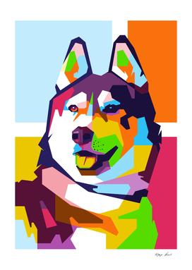 Siberian Husky in WPAP Modern Art