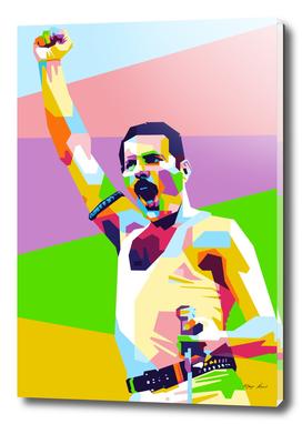 Freddie Mercury Live Aids in WPAP Modern Art