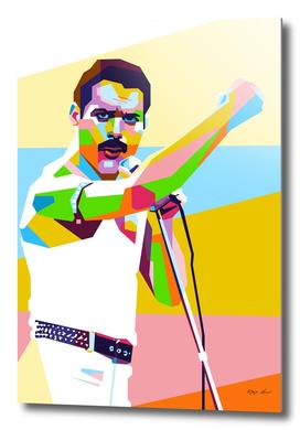 Freddie Mercury Cool Style in WPAP Modern Art