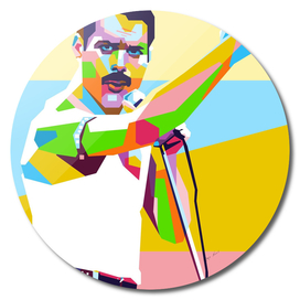 Freddie Mercury Cool Style in WPAP Modern Art