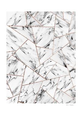 White Marble Rose Gold Geometric Glam #1 #geo #decor #art