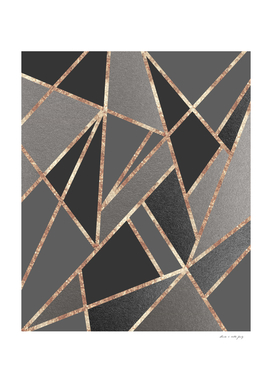 Classic Silver Gray Charcoal Rose Gold Geo #1 #geometric