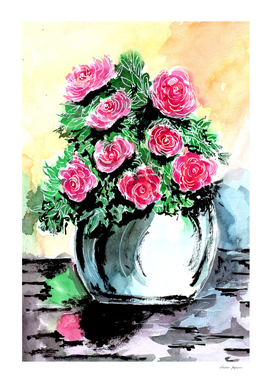Red Peonies in a Vase