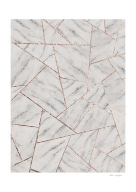 White Marble Silver Glitter Geometric Glam #1 (Faux Glitter)
