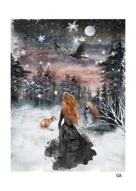 Winter woman and fox
