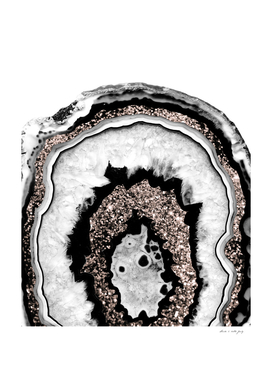 Gray Black White Agate with Rose Gold Glitter #1a #gem