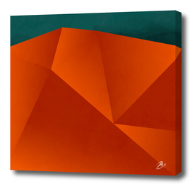 abstract geometric art in copper & petrol