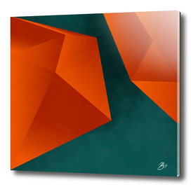 abstract geometric art in copper & petrol green