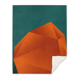 abstract geometric art in copper & petrol green 2