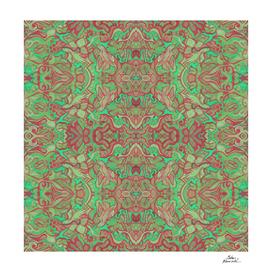 Birds of Sunrise Bohemian Arabesque Pattern Green Red