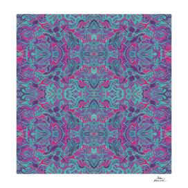 Birds Arabesque, Bohemian Pattern Turquoise Purple Fuchsia