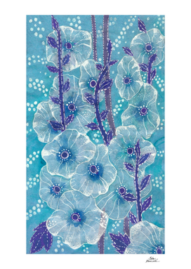 Hollyhock Mallows, Summer Flowers, Floral Art, Blue version