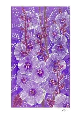 Hollyhock Mallows, Summer Flowers, Floral Art, Purple Violet
