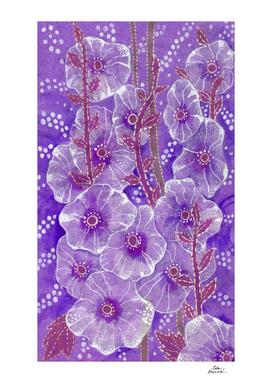 Hollyhock Mallows, Summer Flowers, Floral Art, Purple Violet