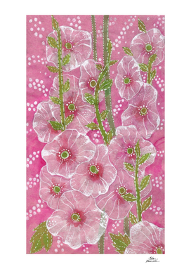 Pink Hollyhock Mallows, Summer Flowers, Floral Art