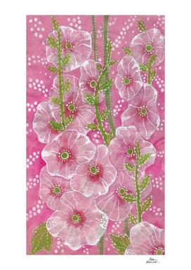 Pink Hollyhock Mallows, Summer Flowers, Floral Art